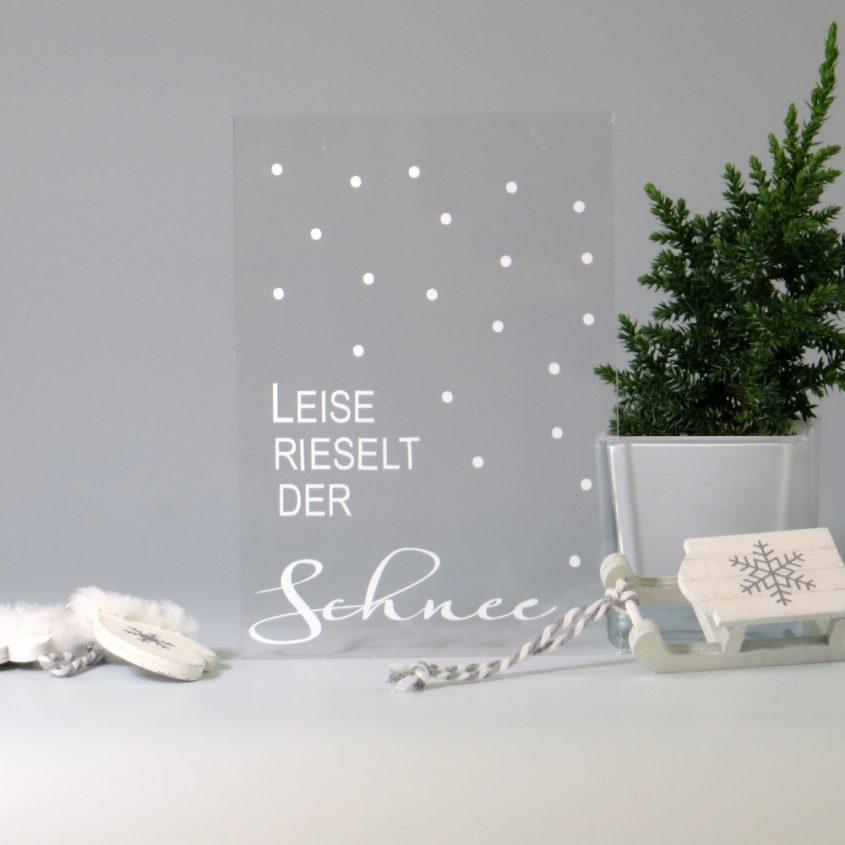 Weihnachtskarte aus Acrylglas mit Folienbeschriftung